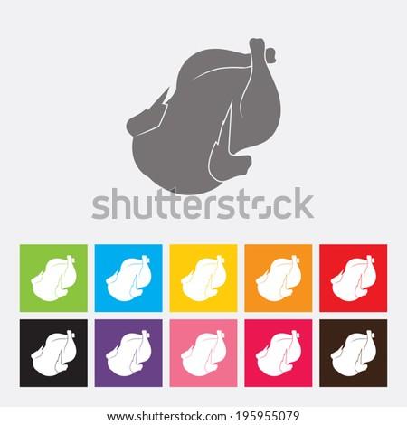 Roast chicken icon - Vector - stock vector