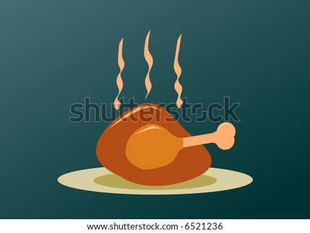 roast turkey for Christmas thanksgiving and easter editable illustration - stock vector