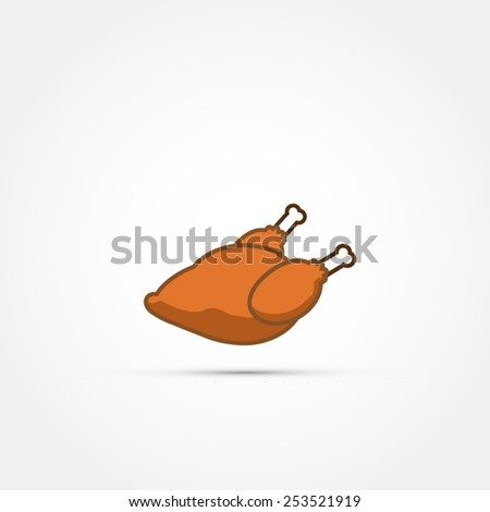 Roasted chicken icon - stock vector
