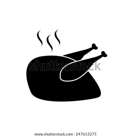 Roasted chicken icon on white background, vector illustration - stock vector