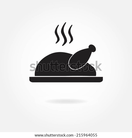 Roasted chicken or Turkey ready for Thanksgiving. Vector icon or sign. - stock vector
