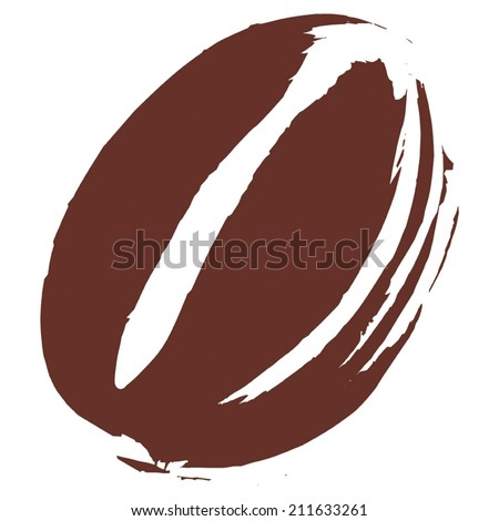 Roasted Coffee Bean illustration on white background, hand drawn with paint & brush, flat graphic vector. Fully adjustable & scalable. - stock vector