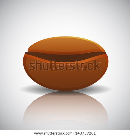 Roasted coffee bean with reflection, vector illustration - stock vector