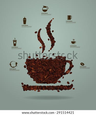 Roasted coffee beans placed in the shape of a cup, Vector illustration modern layout template design - stock vector