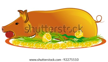 Roasted piglet - stock vector