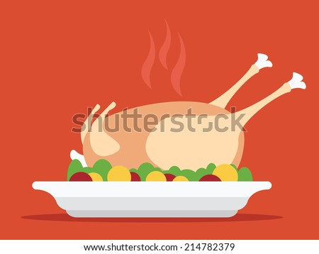 Roasted turkey vector illustration for Thanksgiving - stock vector