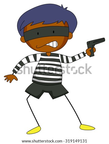 Robber holding a gun illustration - stock vector