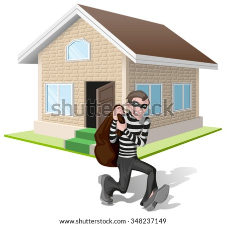 Robber in mask carries bag. Thief robs house. Property insurance. Illustration in vector format - stock vector