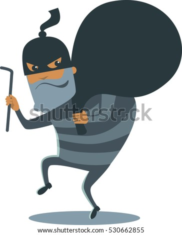 Robber in mask with huge sack vector cartoon character