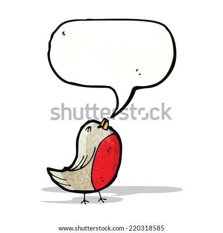 robin with speech bubble cartoon - stock vector