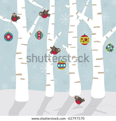 robins decorating the forest with christmas ornaments - stock vector