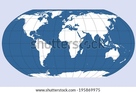 Robinson projection of the world, vector map outline. - stock vector