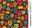 Robot and monsters cute seamless pattern. - stock vector