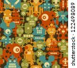 Robot and monsters modern seamless pattern in retro style. Vector background with nanobots. - stock photo