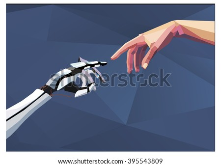 Robot arm and hand human , touch