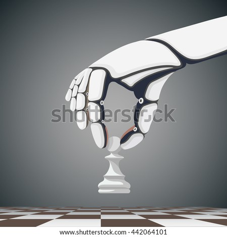 Robot arm holding a chess pawn. Artificial Intelligence. Stock Vector cartoon illustration. - stock vector