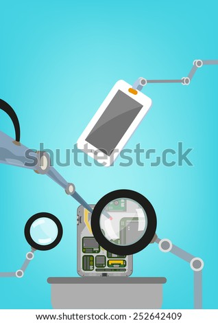 Robot arms inspecting quality, researching or fixing the inside spare parts of a tablet. Flat and Isometric illustration vector. - stock vector