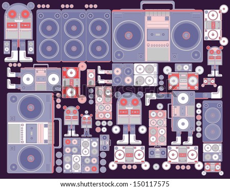 robot boom box tape music vector pattern wallpaper purple vintage colors