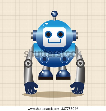 robot cartoon theme elements vector,eps