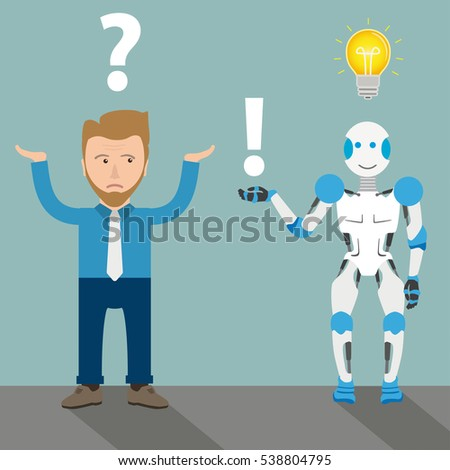 Robot cartoon with businessman, question, answer and bulb on the gray background. Eps 10 vector file.