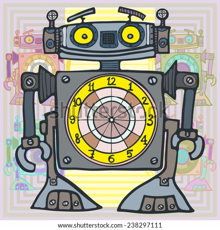 Robot-clock. Bipedal mechanical creature  robot, with a dial. Vector illustration.Cartoon illustration. - stock vector