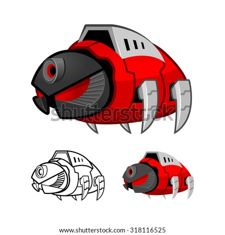 Robot Cockroach Cartoon Character Include Flat Design and Outlined Version Vector Illustration
