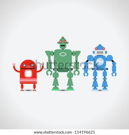 Robot Collection - stock vector
