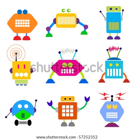 Robot collection. Vector - stock vector