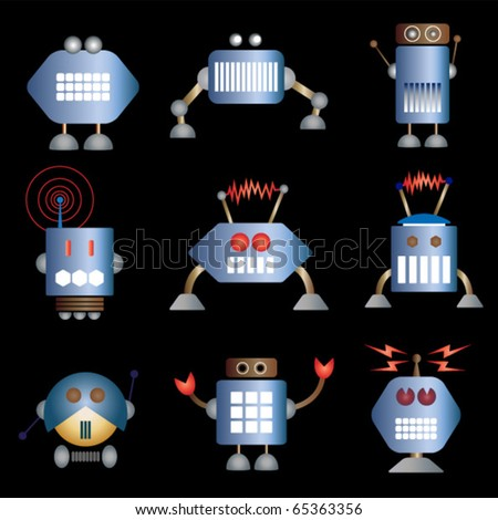 Robot collection. Vector. Other examples in my portfolio. - stock vector