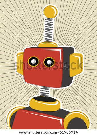 Robot colored in retro offset style and colors lines surrounding - stock vector