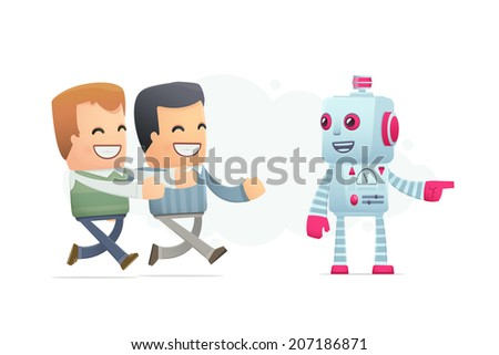 robot controls people's minds. conceptual illustration - stock vector