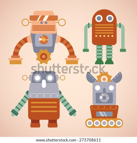 Robot Cute Characters : Vector Illustration
