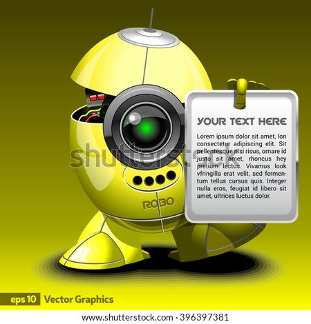 Robot Cyborg Holding in Hand Board with Invitation Text to Techno Expo. Yellow Robot with Legs and Arms. Digital background vector illustration. - stock vector