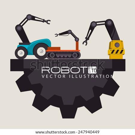 Robot design over beige background, vector illustration. - stock vector