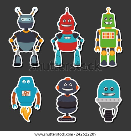 Robot design over gray background, vector illustration