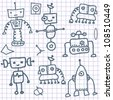 Robot doodles on a notebook paper - stock vector