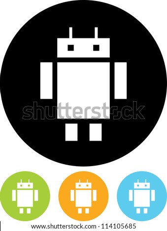 Robot funny cartoon character - Vector icon isolated - stock vector