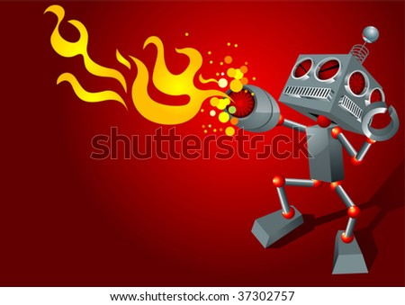 robot fury - stock vector