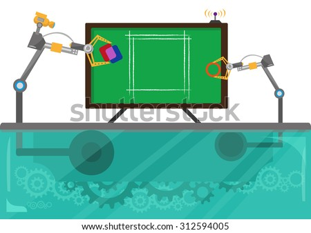 Robot Hands works together to Redesign a Logo, produce a new product or draw an architectural project. Editable Clip art. - stock vector
