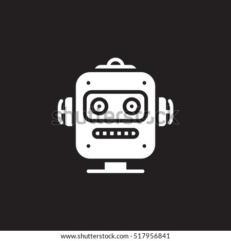 robot head line icon filled outline stock vector 518843779