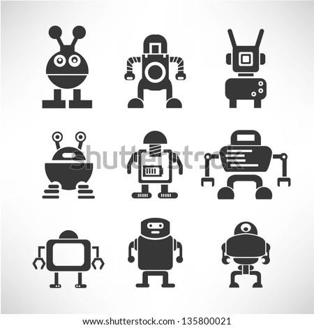 robot icon set - stock vector