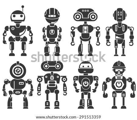 robot icons - stock vector
