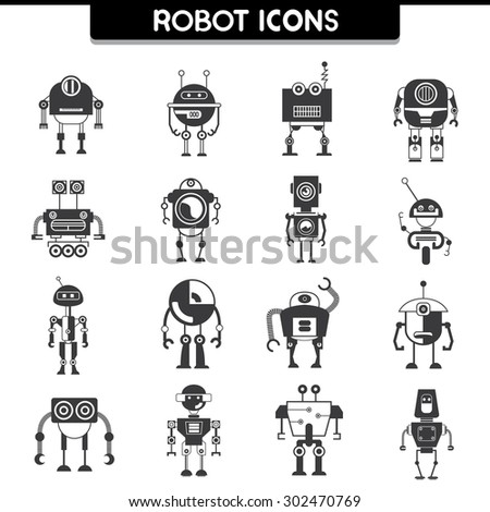 robot icons - stock vector