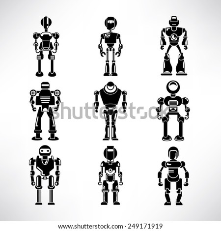 robot icons set - stock vector