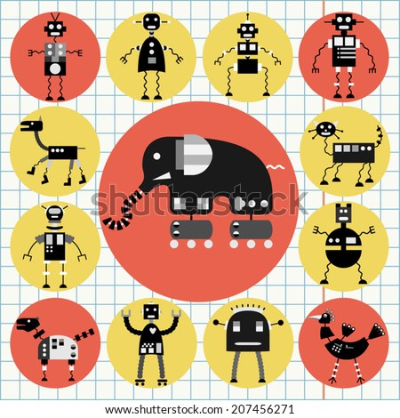 Robot icons set, black and white cartoon collection