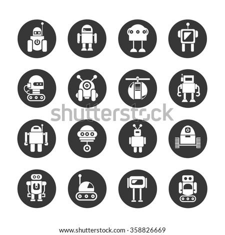 robot icons set, vector robots, cute robots - stock vector