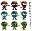 Robot Ninja Mascot Set 1 - stock vector