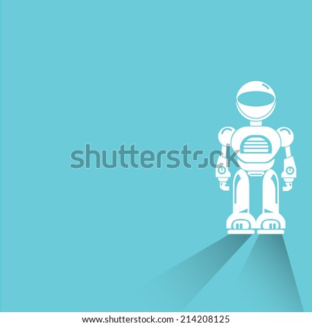 robot on blue background - stock vector