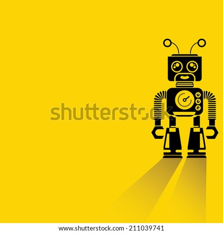 robot on yellow background, flat and shadow design, cyborg - stock vector