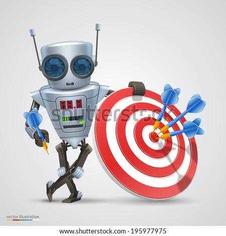 Robot plays darts. Vector - stock vector